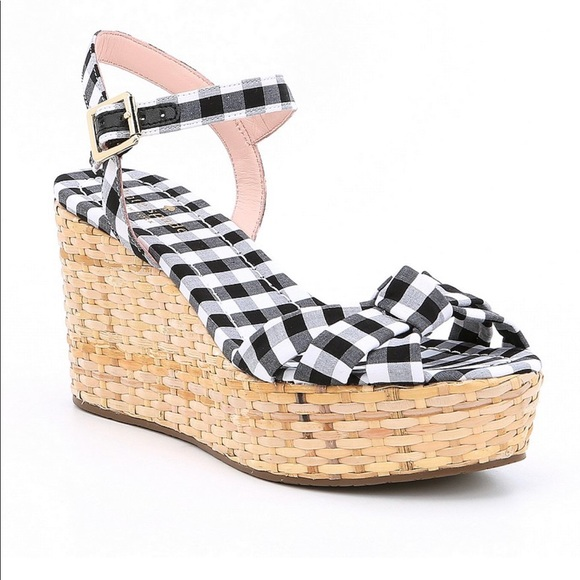 11b28a593228 New! Kate Spade Tilly Gingham Wedge sandal-7.5